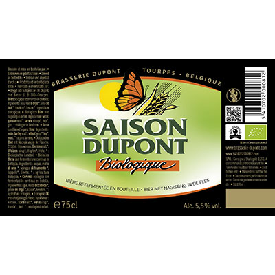 5410702000812 Saison Dupont Bio<sup>1</sup> - 75cl Bottle conditioned organic beer (control BE-BIO-01) Sticker Front